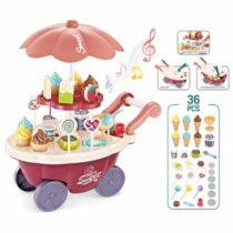 Mini Sweet Candy Cart Ice Cream Shop Lighting Music Children Plastic Cosplay Kitchen Toys 30 Pcs Set